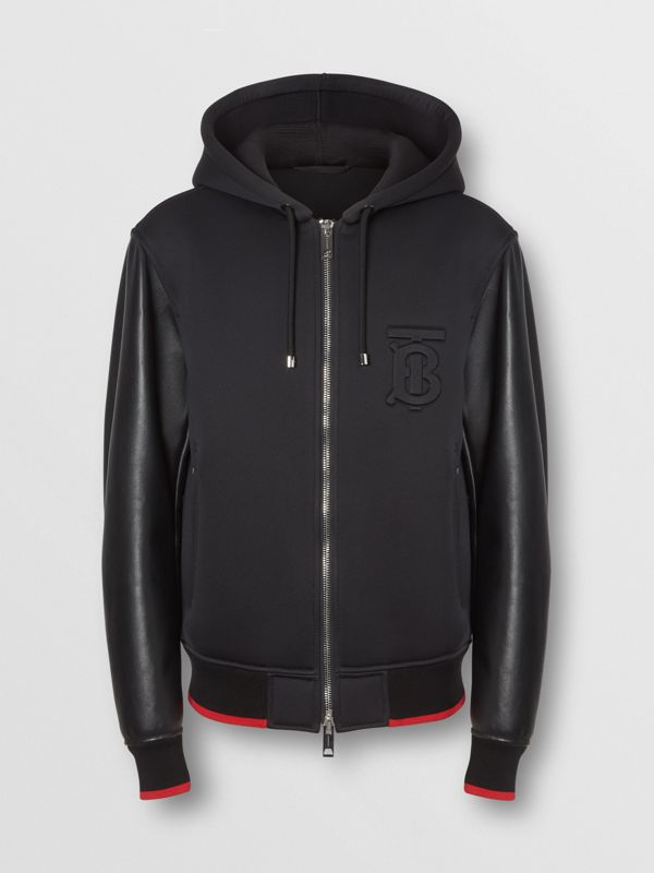 Lambskin-sleeve Neoprene Hooded Jacket in Black - Men | Burberry United States - cell image 3