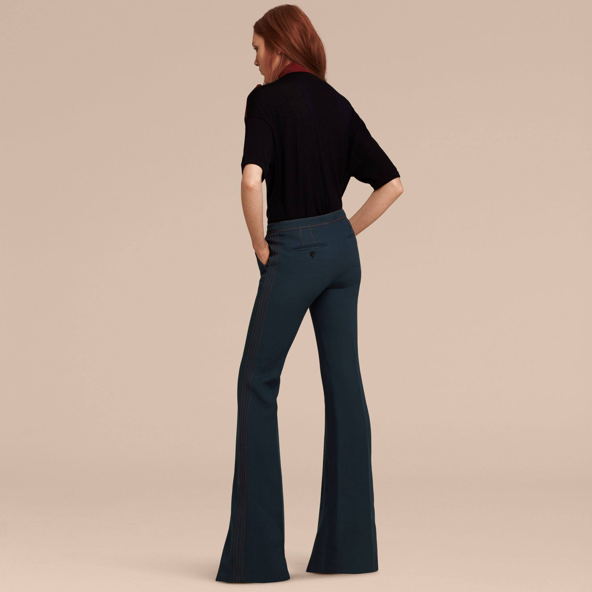 Ink blue Wool Silk Boot-cut Trousers - gallery image 3