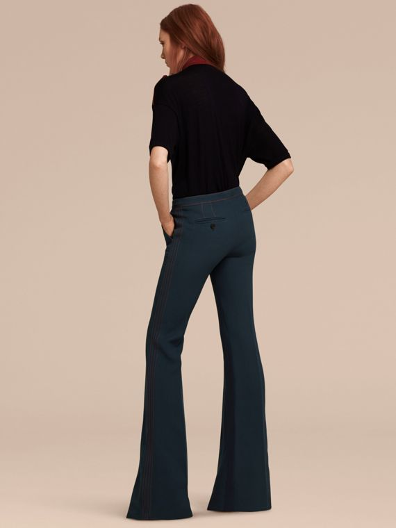 Ink blue Wool Silk Boot-cut Trousers - cell image 2