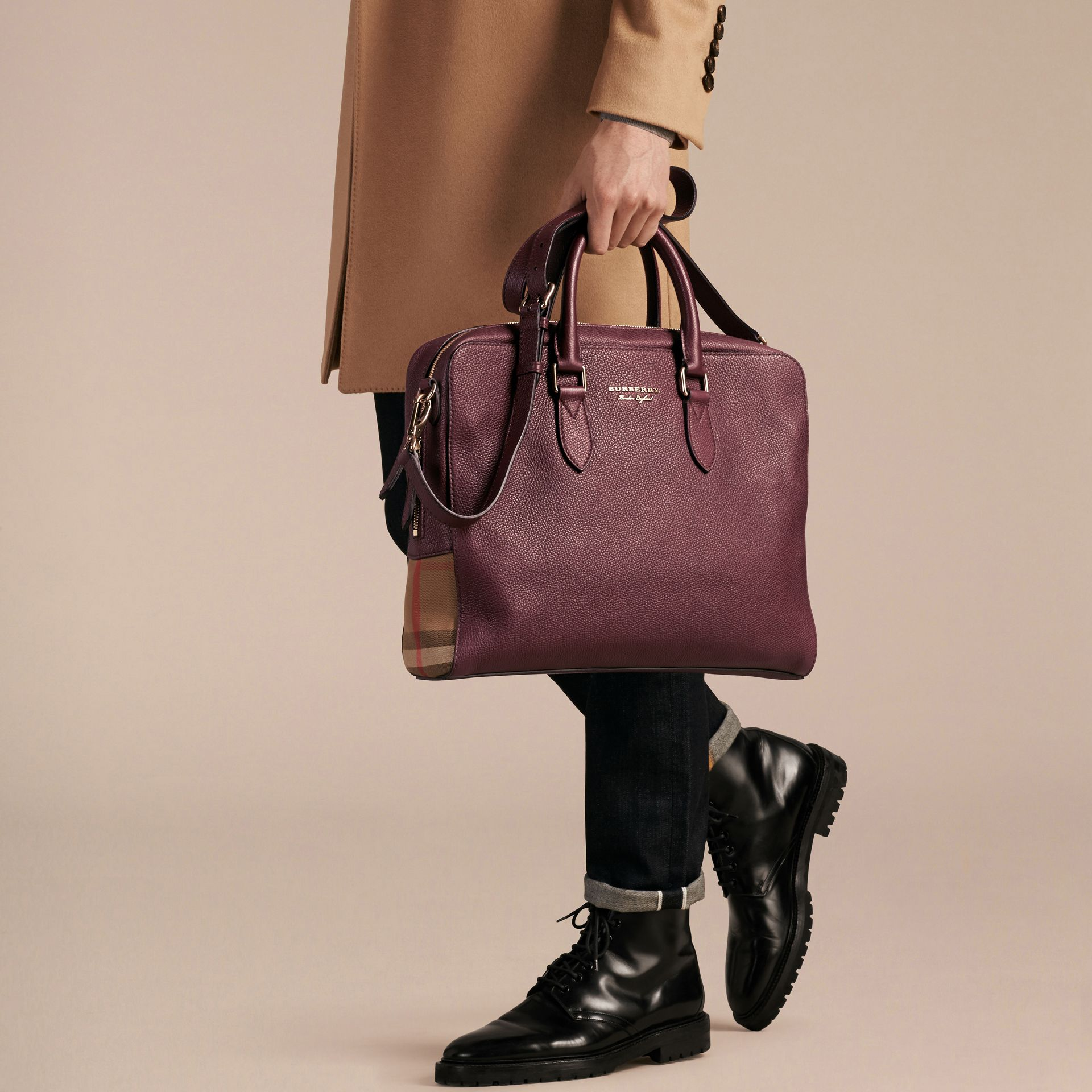 Leather and House Check Briefcase in Wine - Men | Burberry - gallery image 4