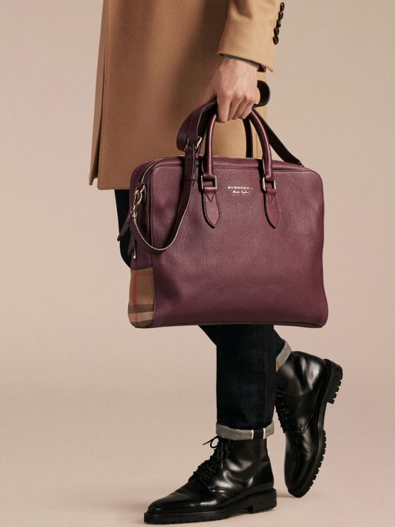 Leather and House Check Briefcase in Wine - cell image 3