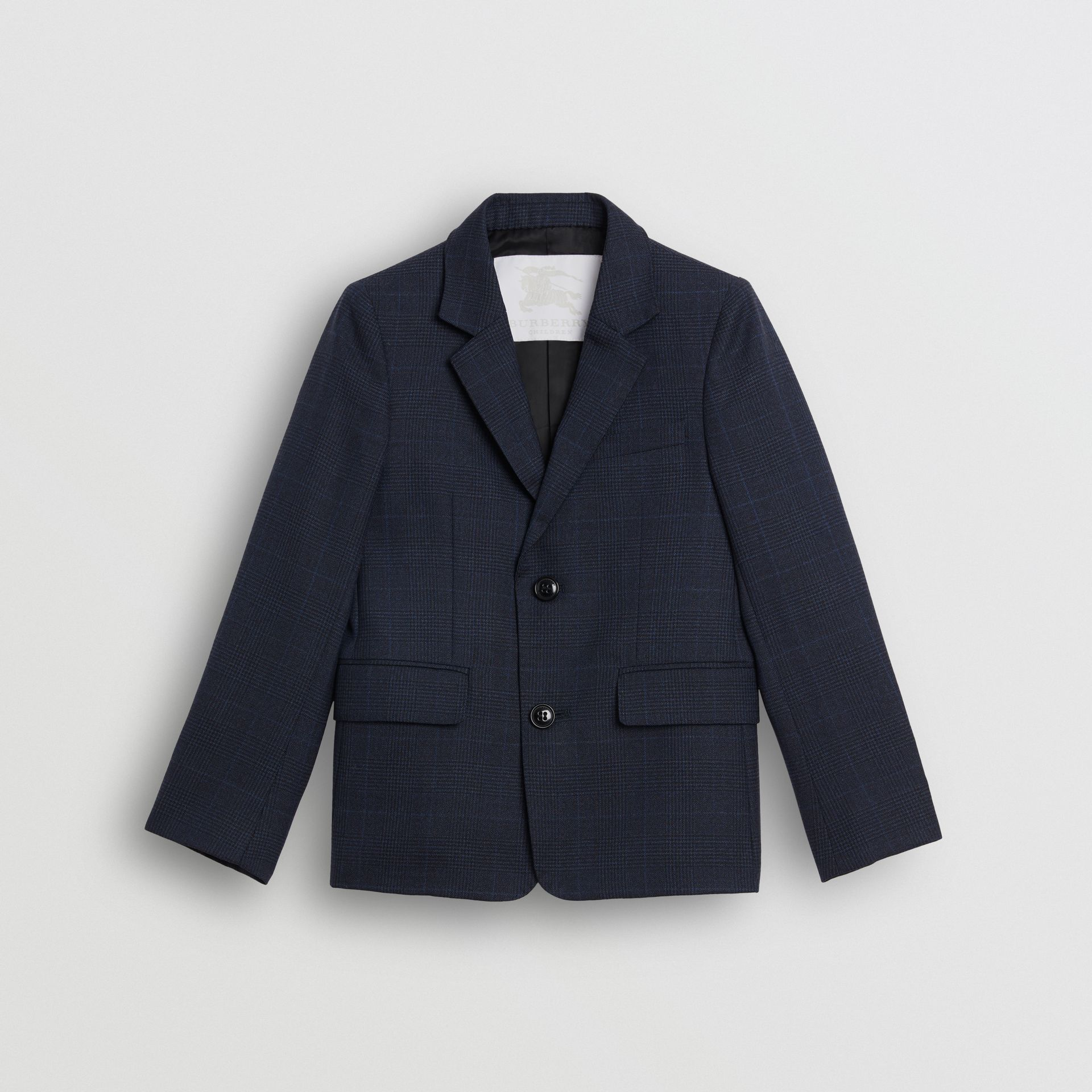 Prince of Wales Check Wool Blazer in Bright Navy | Burberry Australia - gallery image 0