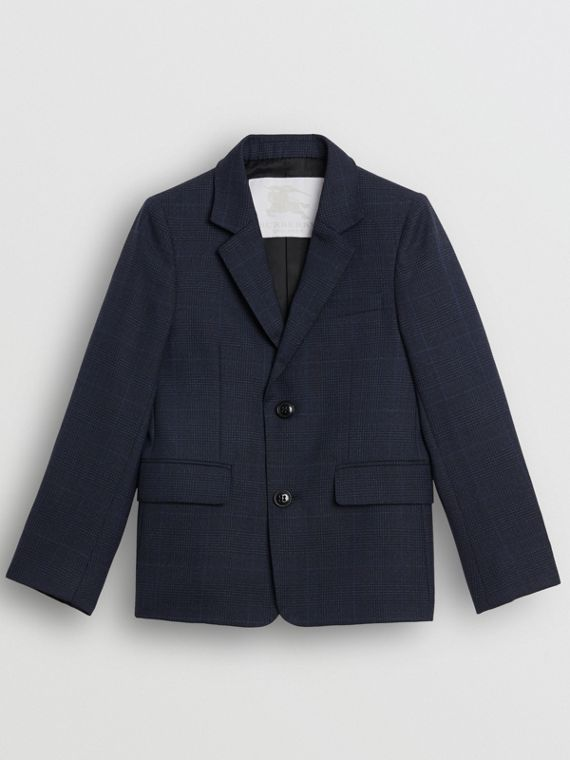Prince of Wales Check Wool Blazer in Bright Navy