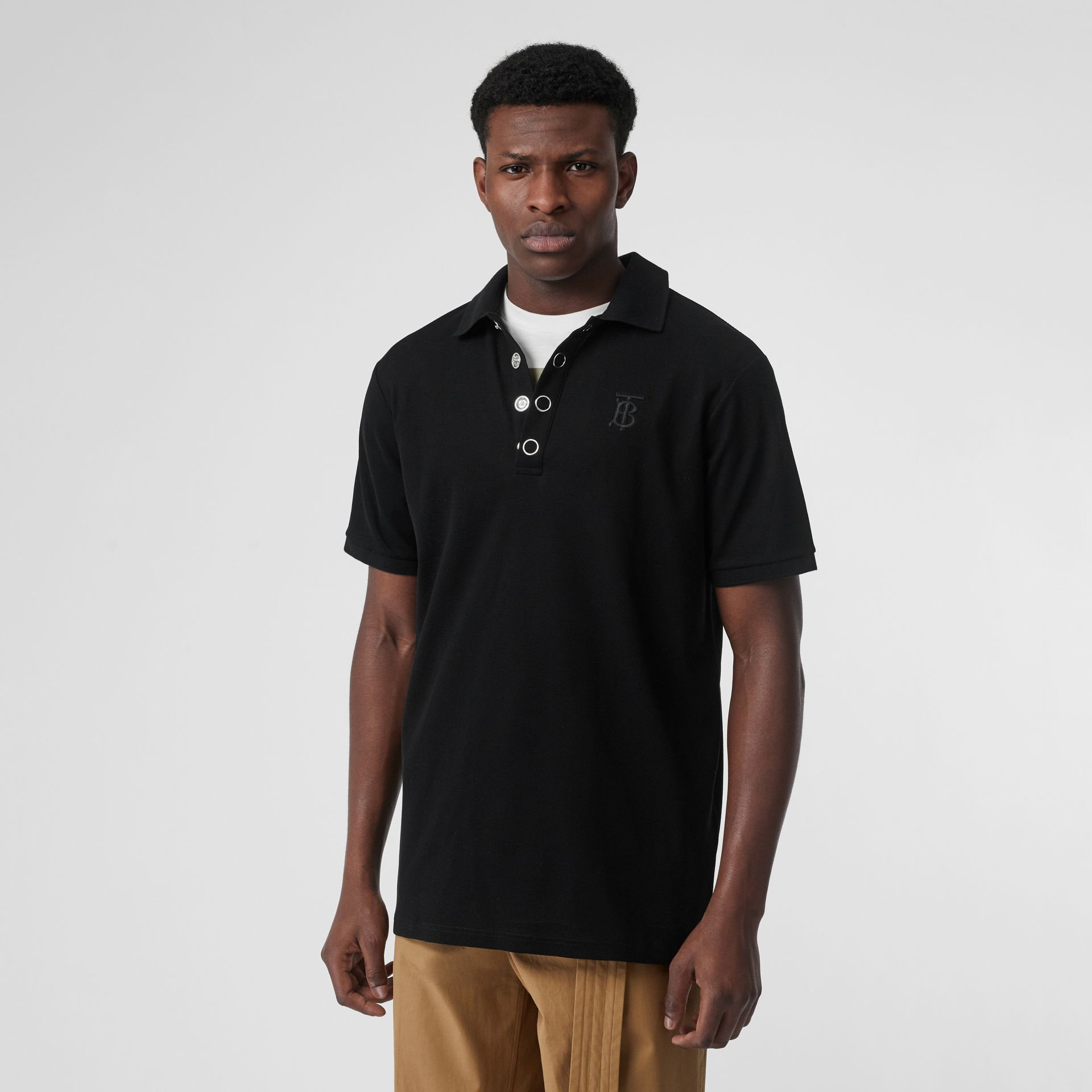 Monogram Motif Cotton Piqué Polo Shirt in Black | Burberry United States - gallery image 5