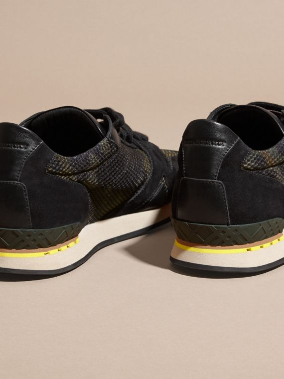 Dark green ochre The Field Sneaker in Suede and Camouflage Mesh - cell image 3