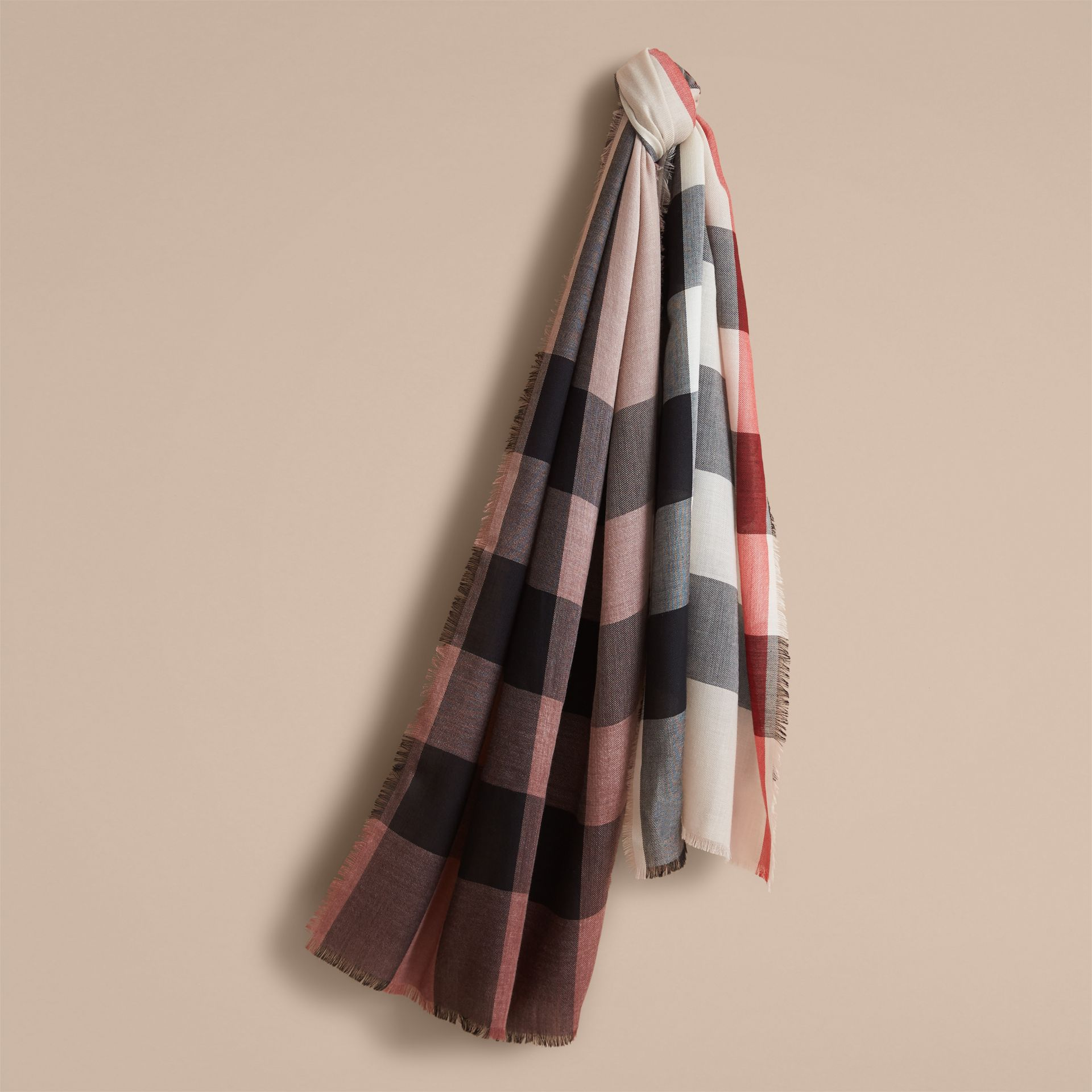 The Lightweight Cashmere Scarf in Ombré Check in Mauve Pink | Burberry - gallery image 1