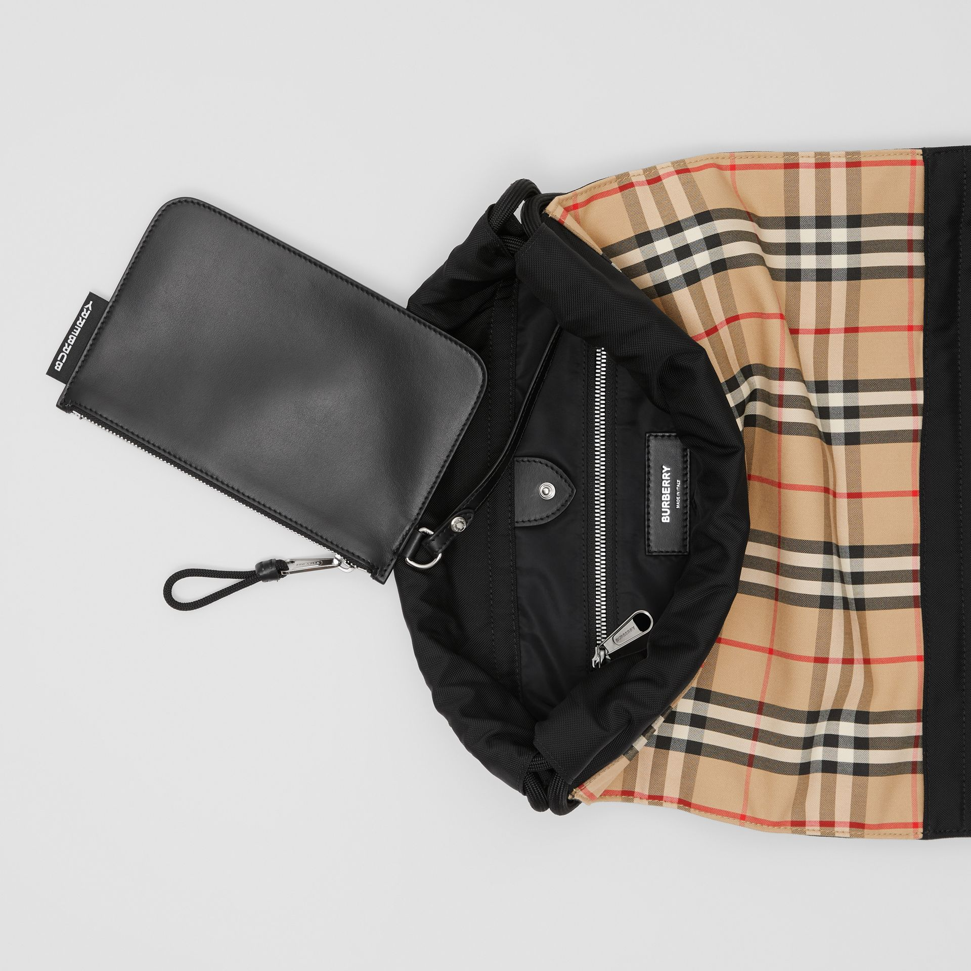 Vintage Check Panel Drawcord Backpack in Archive Beige   Burberry United Kingdom - gallery image 5