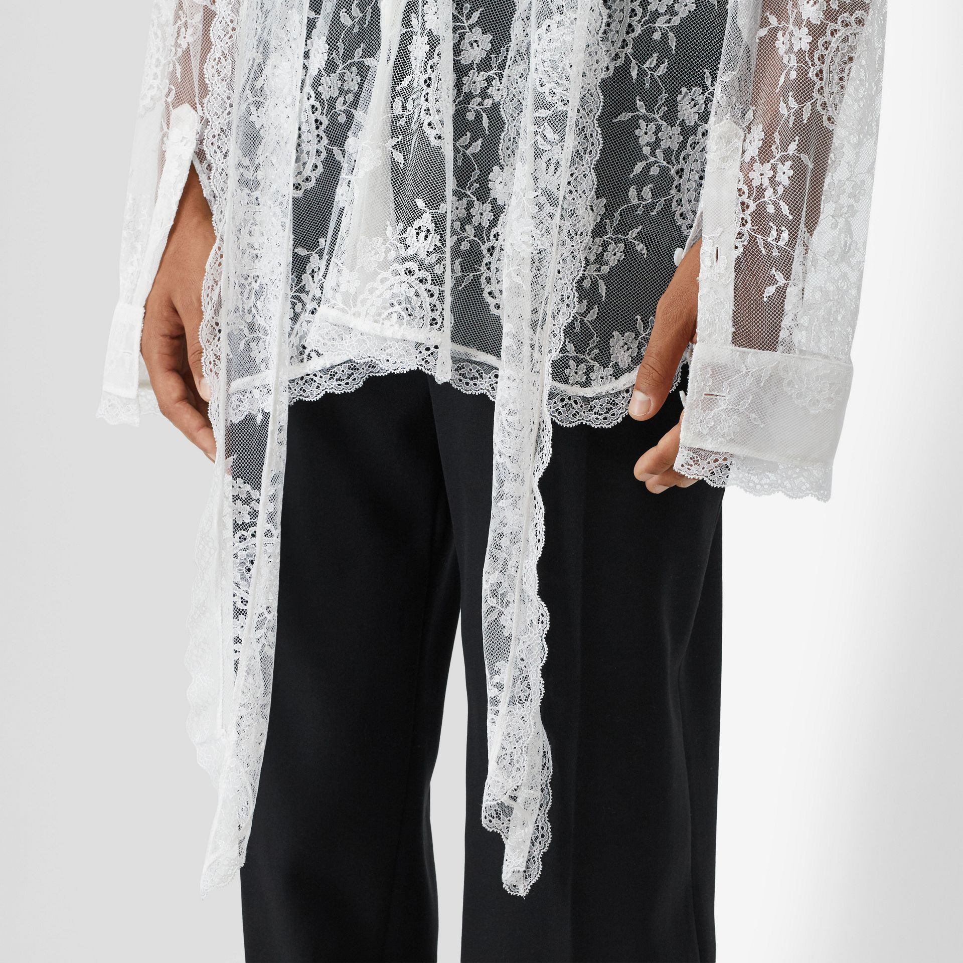 Chantilly Lace Oversized Tie-neck Shirt in Optic White | Burberry Australia - gallery image 4