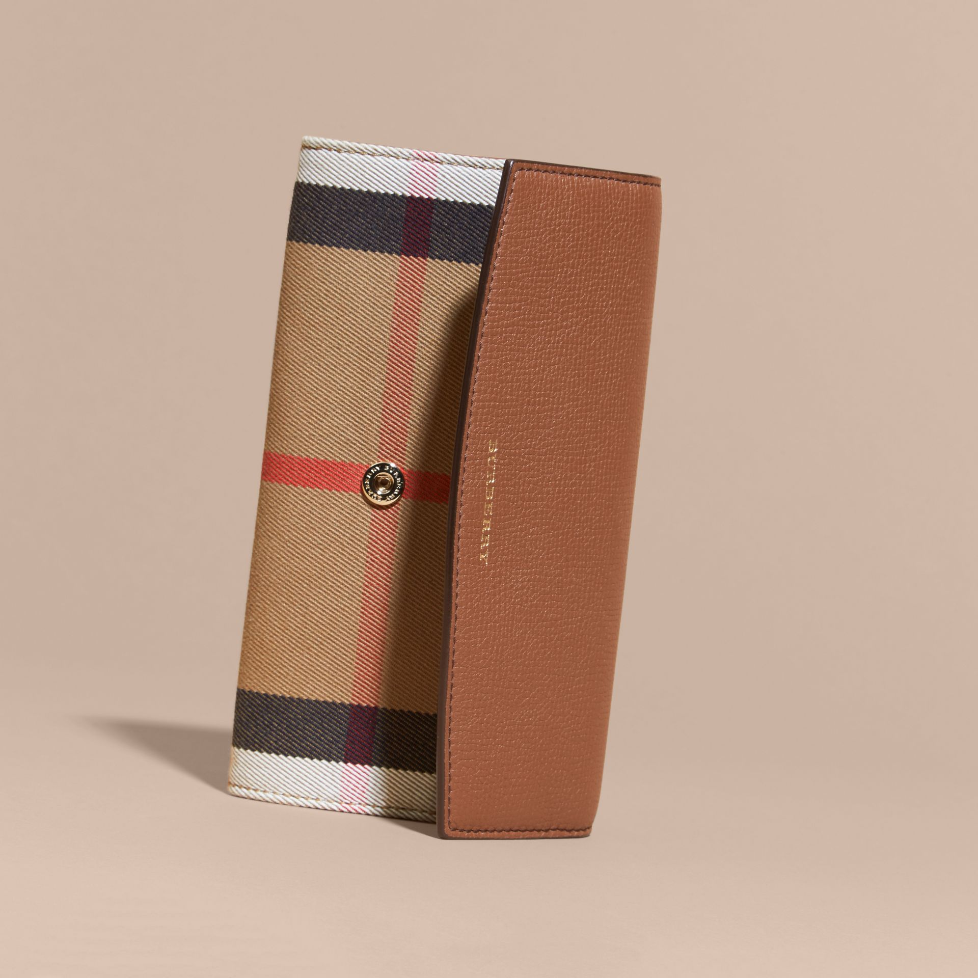 House Check And Leather Continental Wallet in Tan - Women | Burberry - gallery image 6