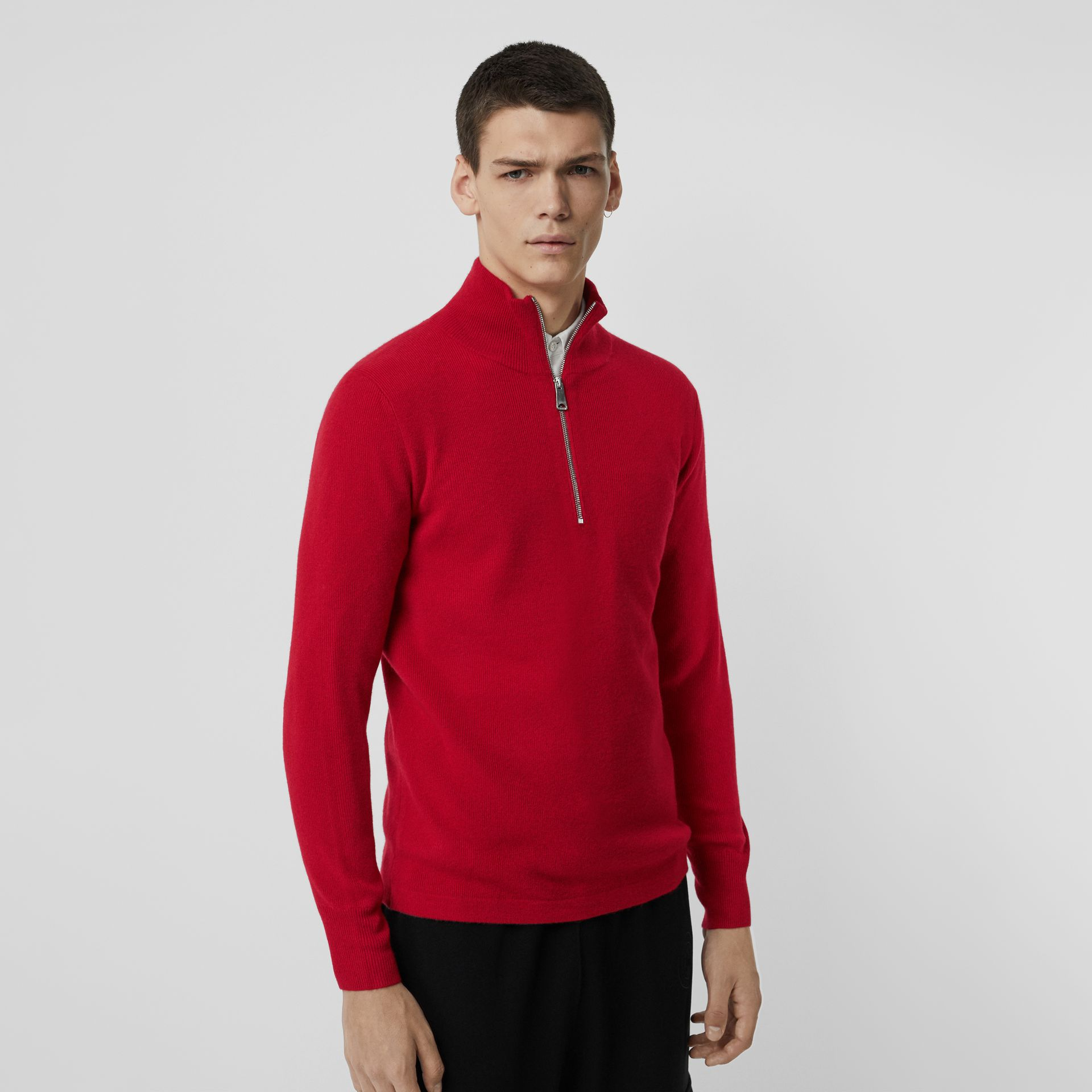 Rib Knit Cashmere Half-zip Sweater in Military Red - Men | Burberry - gallery image 0