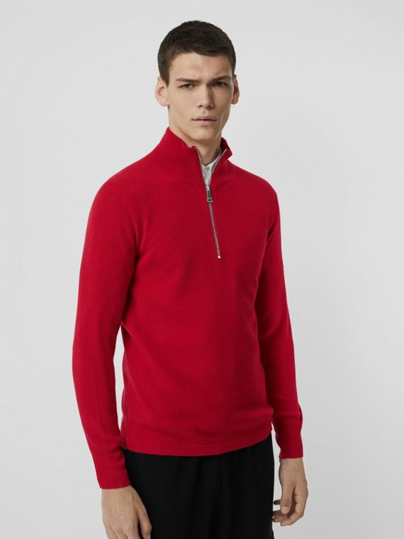 Rib Knit Cashmere Half-zip Sweater in Military Red