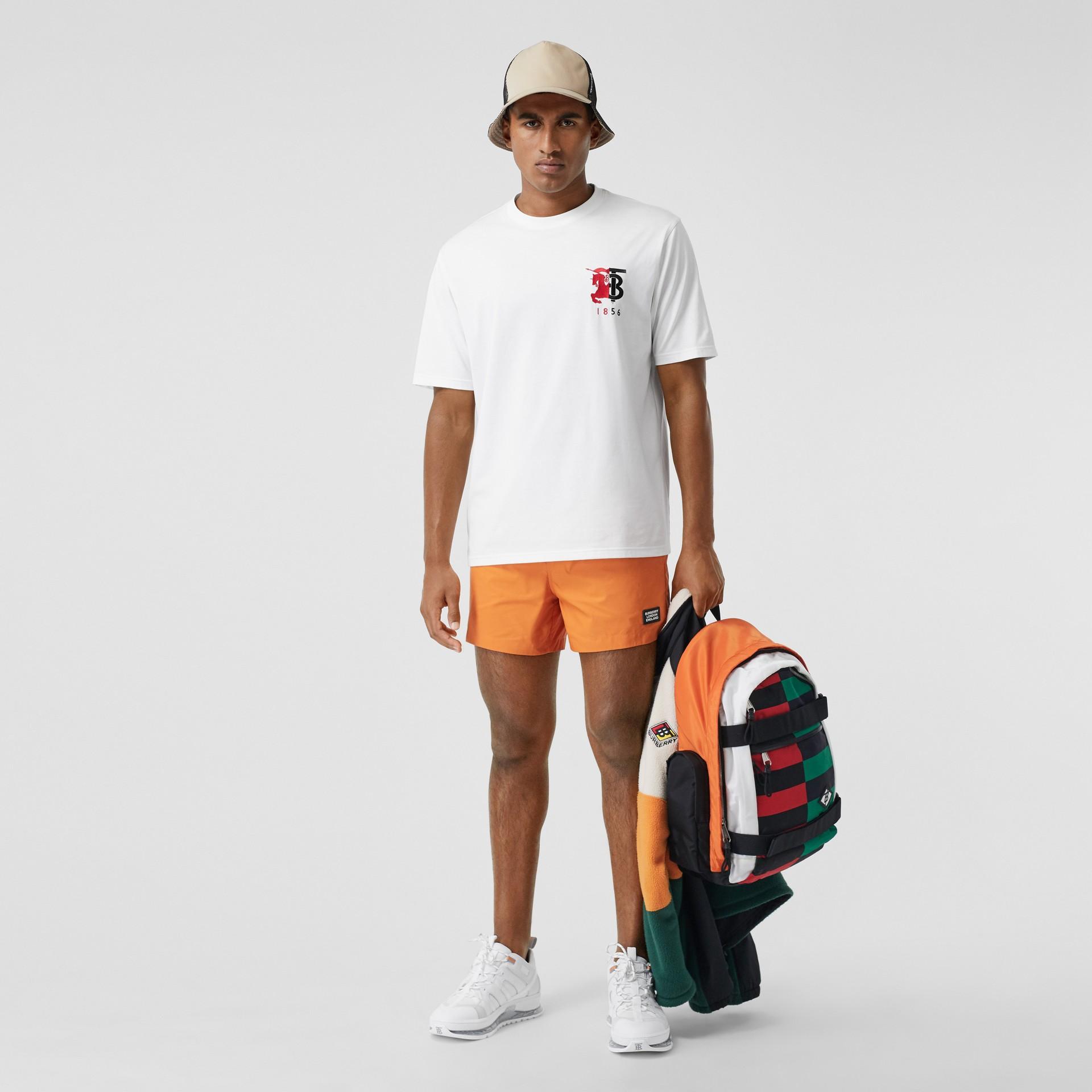 Contrast Logo Graphic Cotton T-shirt in White - Men | Burberry Australia - gallery image 0