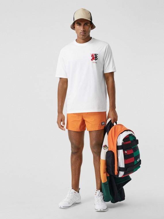 T-shirt en coton avec logo bicolore (Blanc)