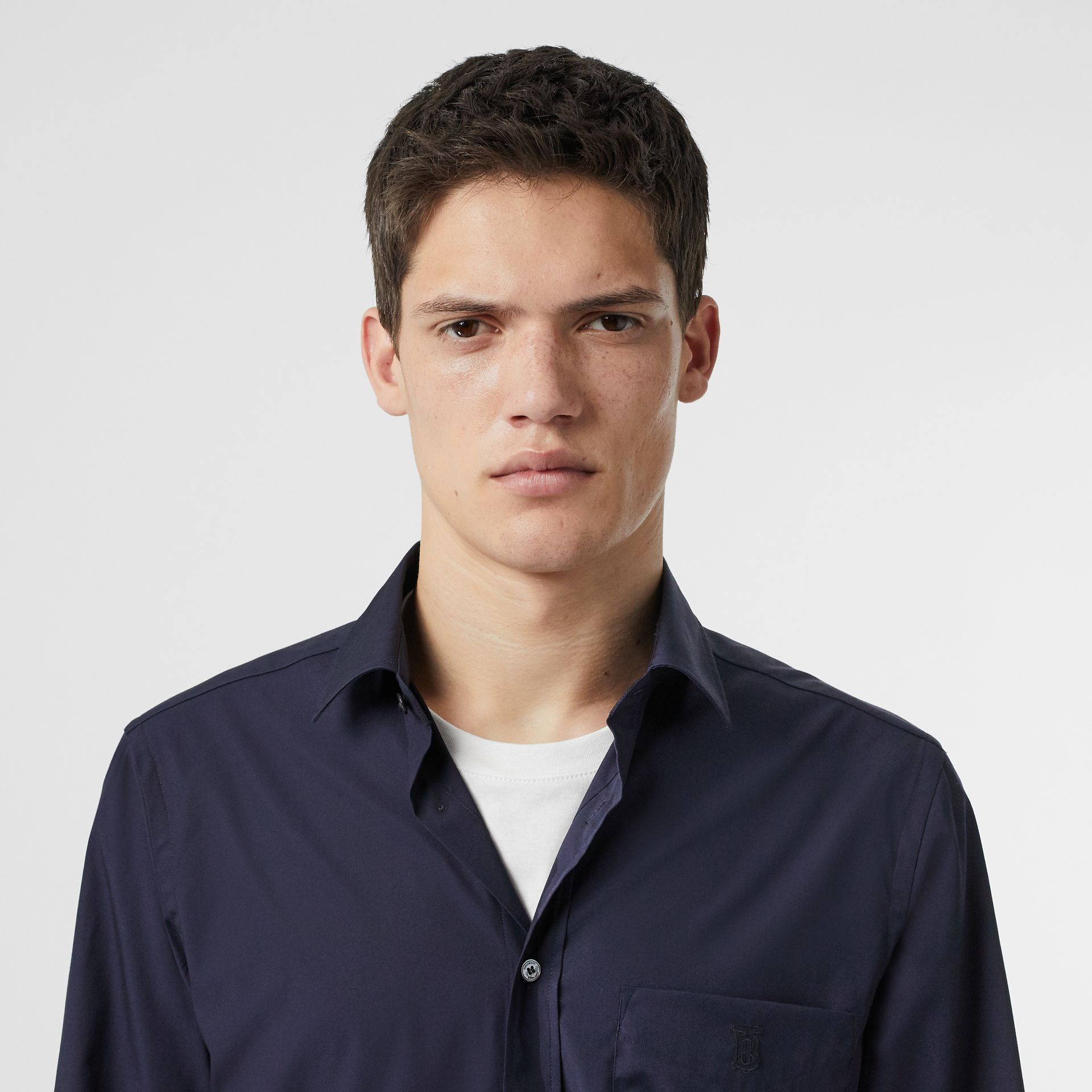 Monogram Motif Stretch Cotton Poplin Shirt in Navy - Men | Burberry United Kingdom - gallery image 1