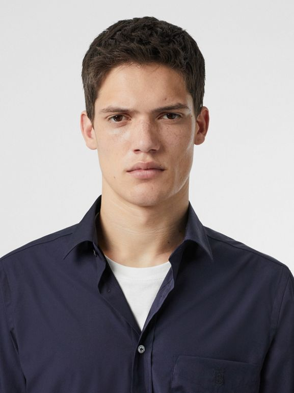 Monogram Motif Stretch Cotton Poplin Shirt in Navy - Men | Burberry - cell image 1