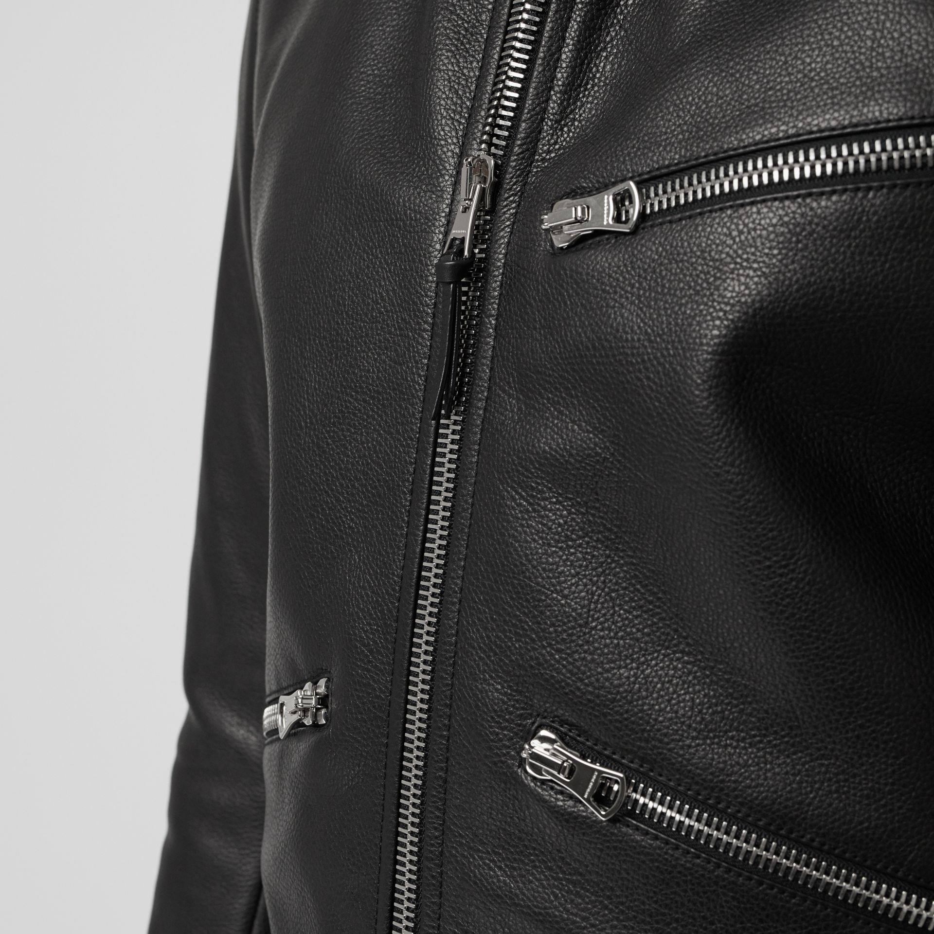 Zip Detail Leather Jacket in Black - Men | Burberry - gallery image 4