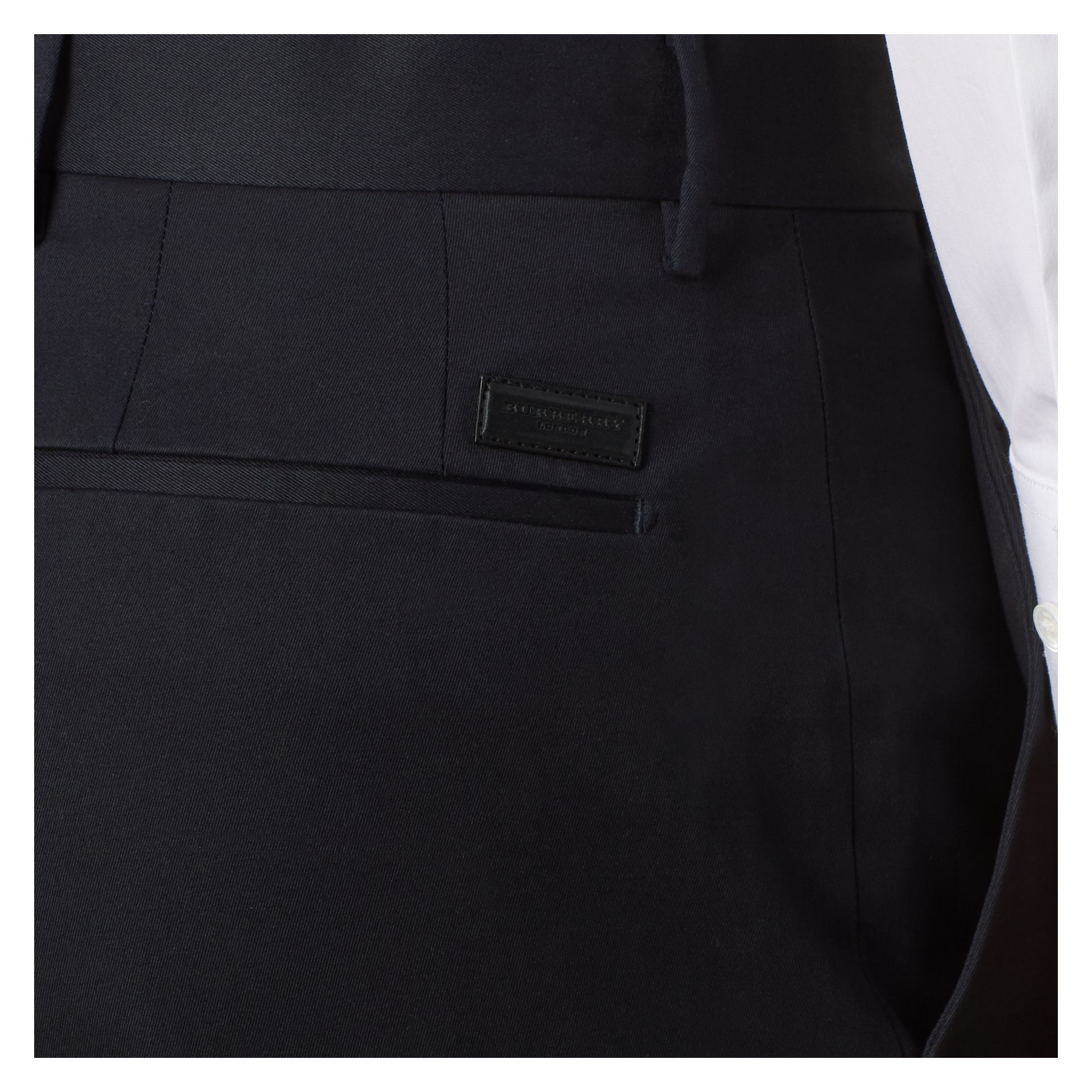 Navy Slim Fit Cotton Trousers - gallery image 2
