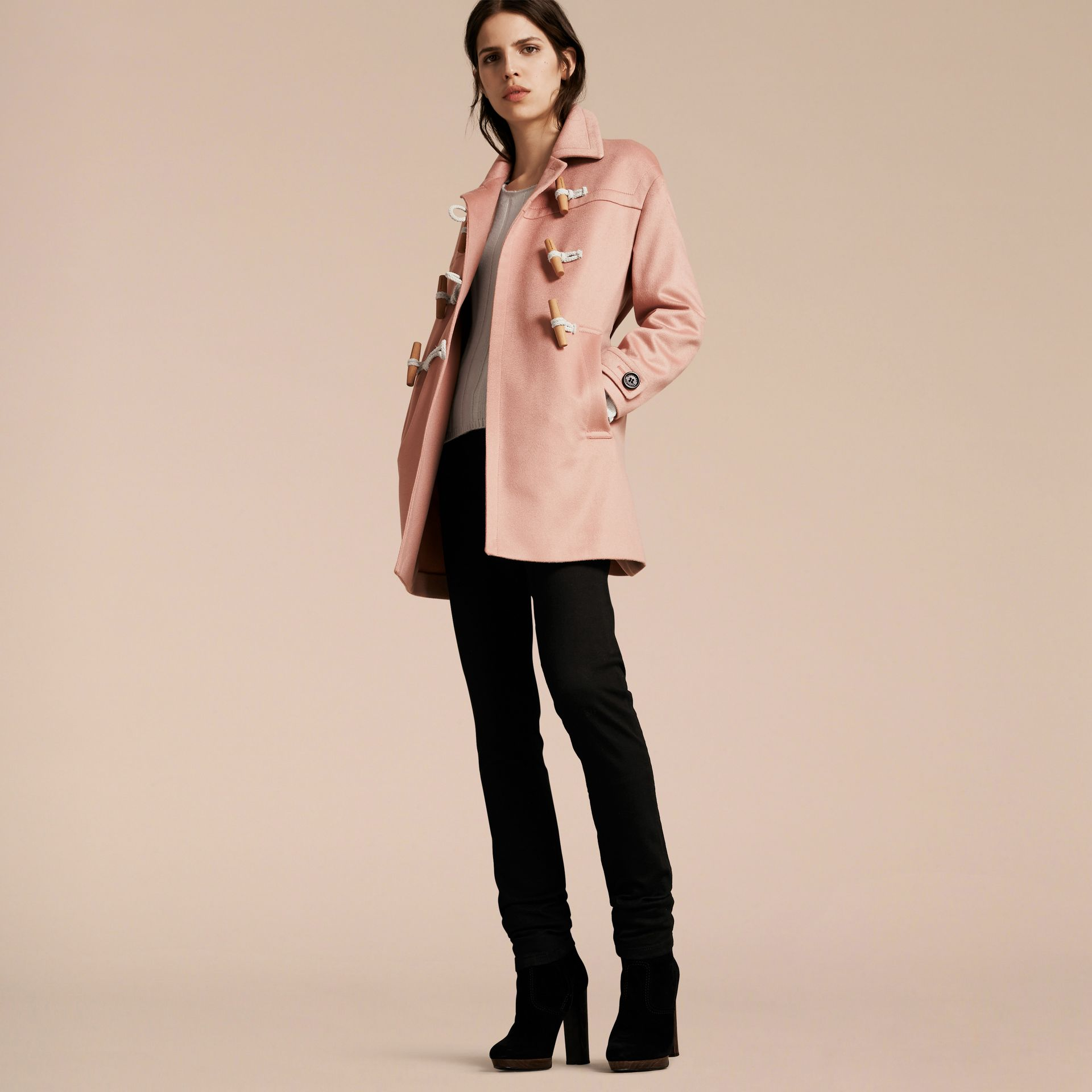 Chalk pink Cashmere Duffle Coat Chalk Pink - gallery image 7