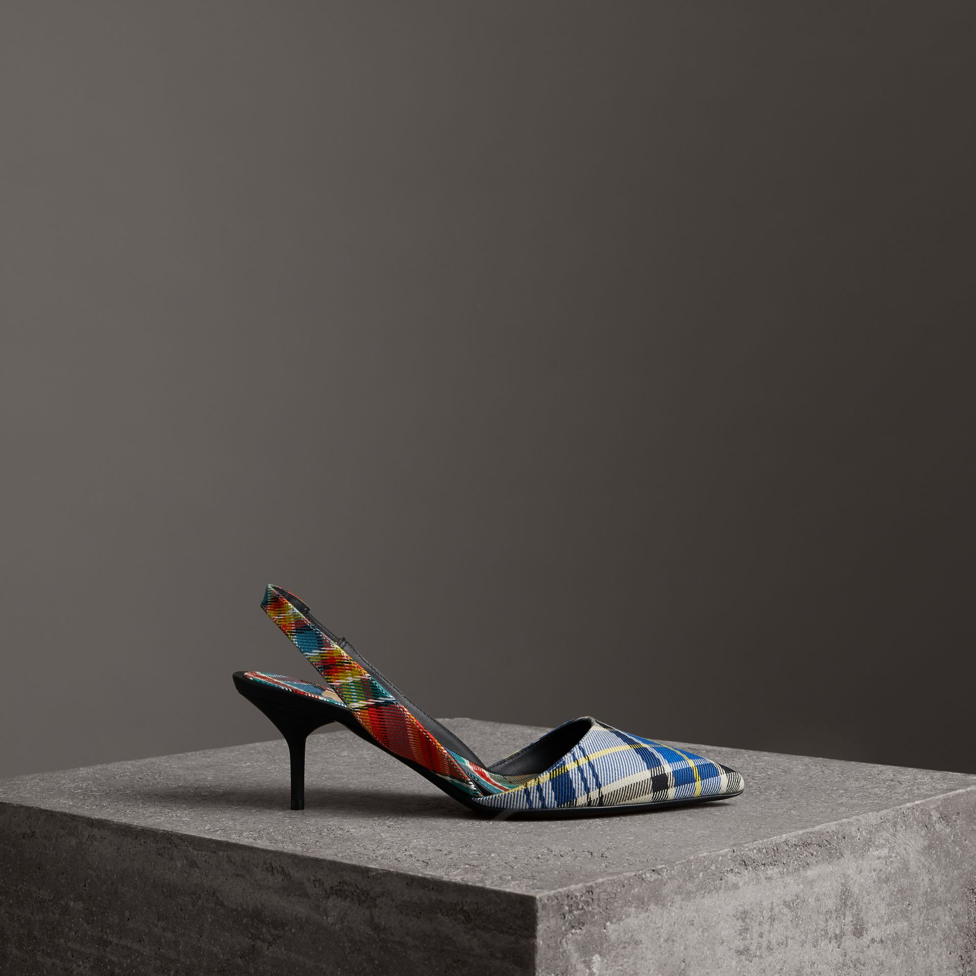Tartan Cotton Slingback Pumps in Poppy Orange - Women | Burberry Australia - gallery image 0