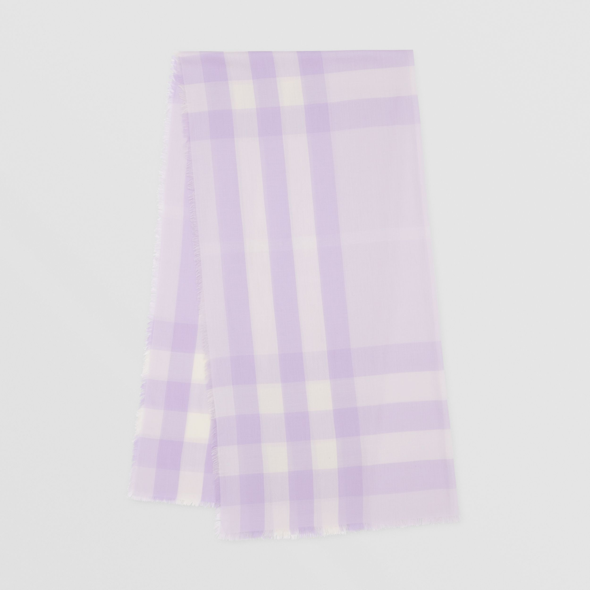 Lightweight Check Cashmere Scarf in Lilac | Burberry - 1