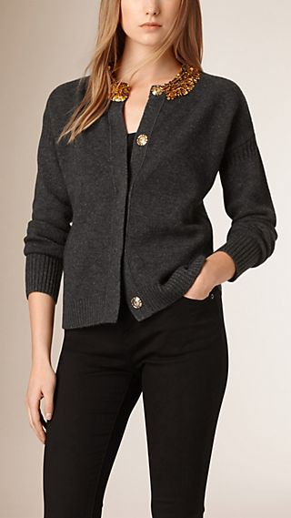 Sequin Trim Wool Cashmere Cardigan