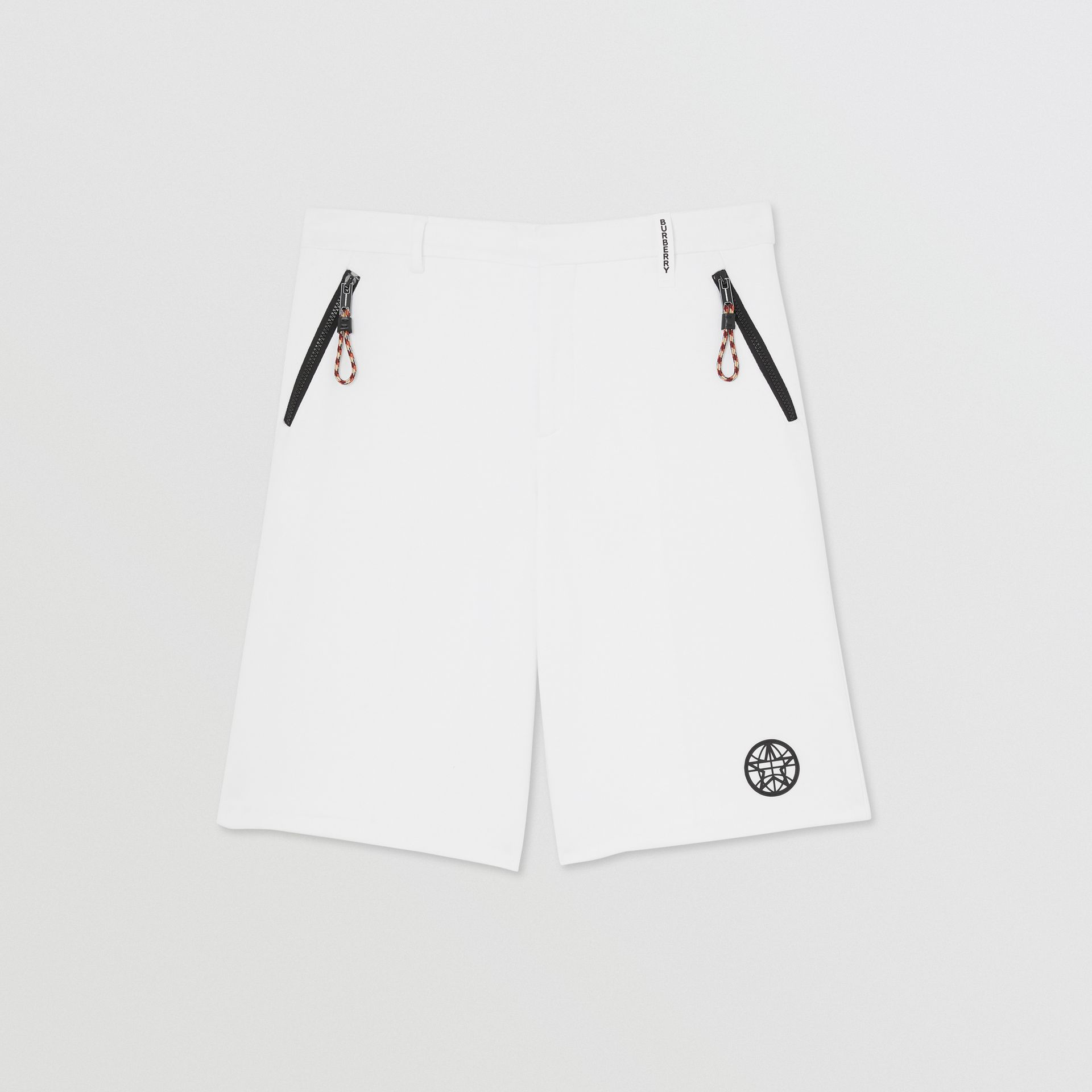 Globe Graphic Cotton Tailored Shorts in Optic White | Burberry - gallery image 3