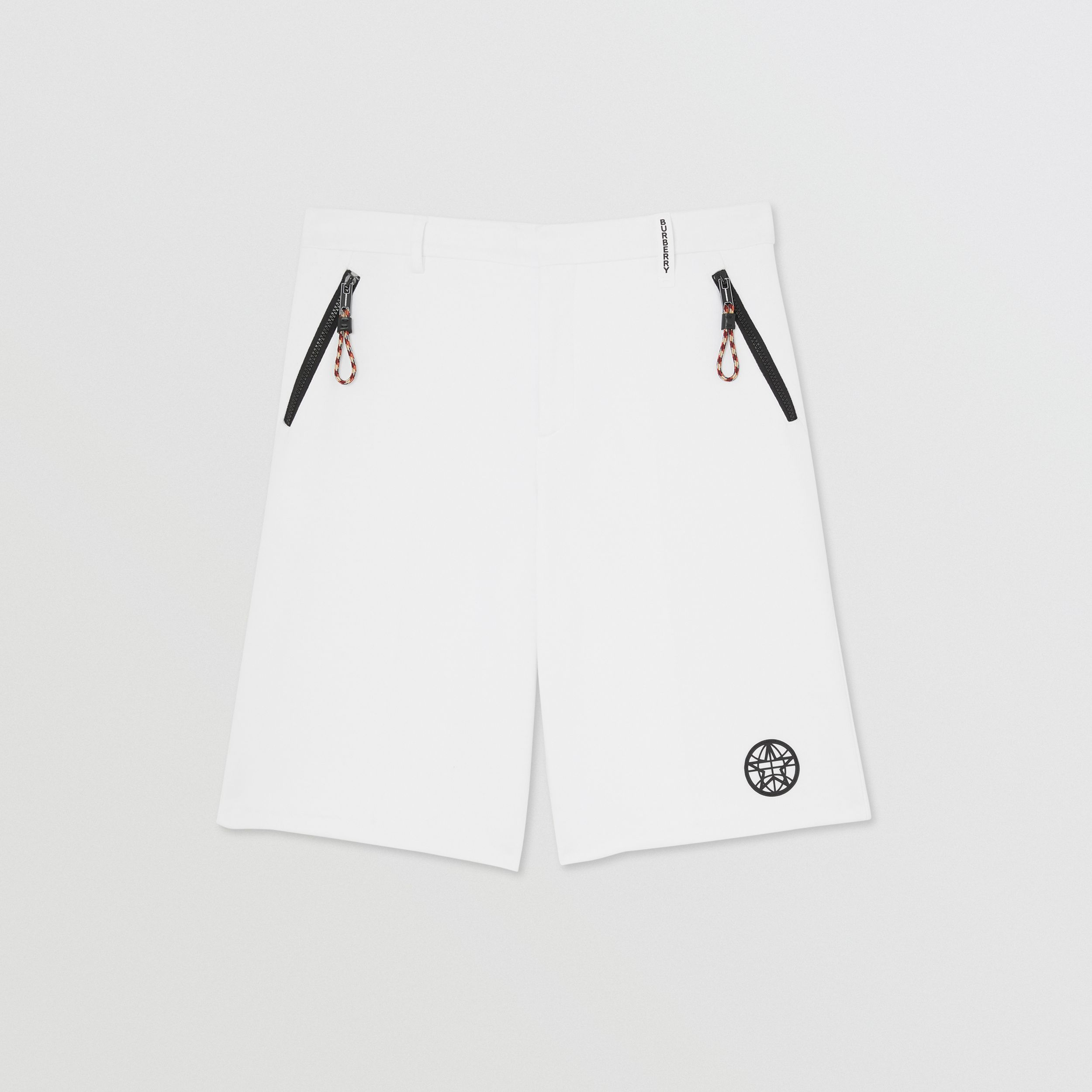 Globe Graphic Cotton Tailored Shorts in Optic White - Men | Burberry - 4