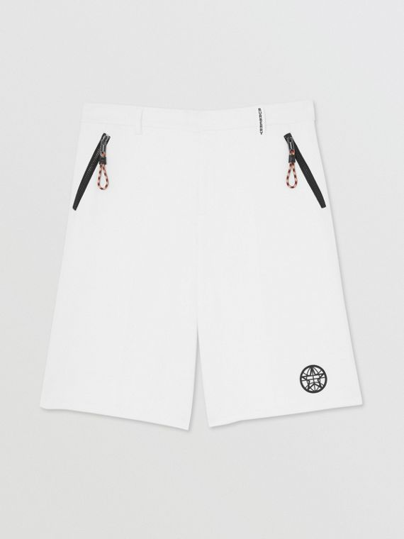 Globe Graphic Cotton Tailored Shorts in Optic White