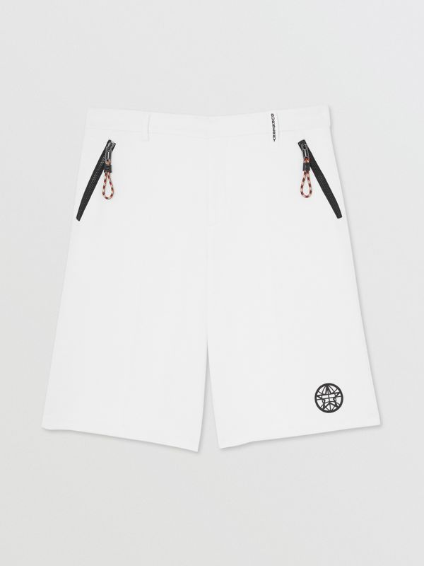Globe Graphic Cotton Tailored Shorts in Optic White | Burberry - cell image 3