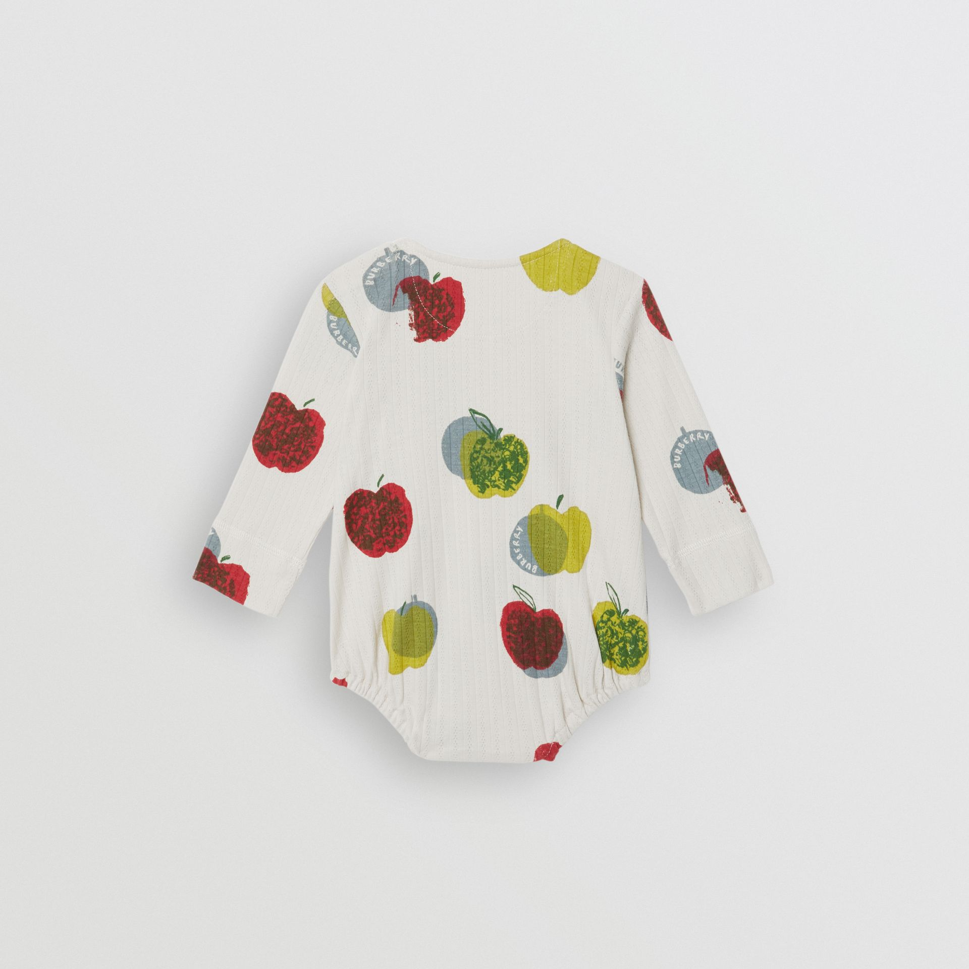 Apple and Floral Print Three-piece Baby Gift Set in Stone - Children | Burberry - gallery image 4