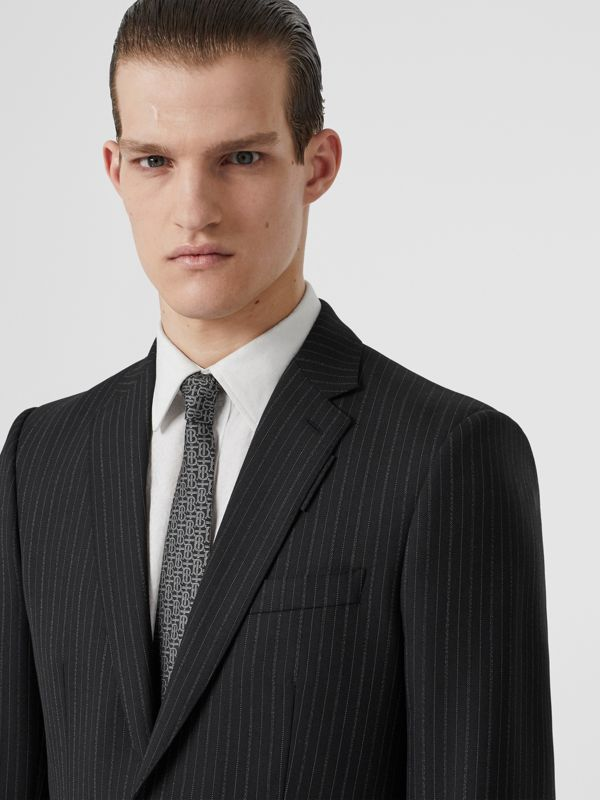 Classic Cut Monogram Silk Jacquard Tie in Mid Grey - Men | Burberry Canada - cell image 2