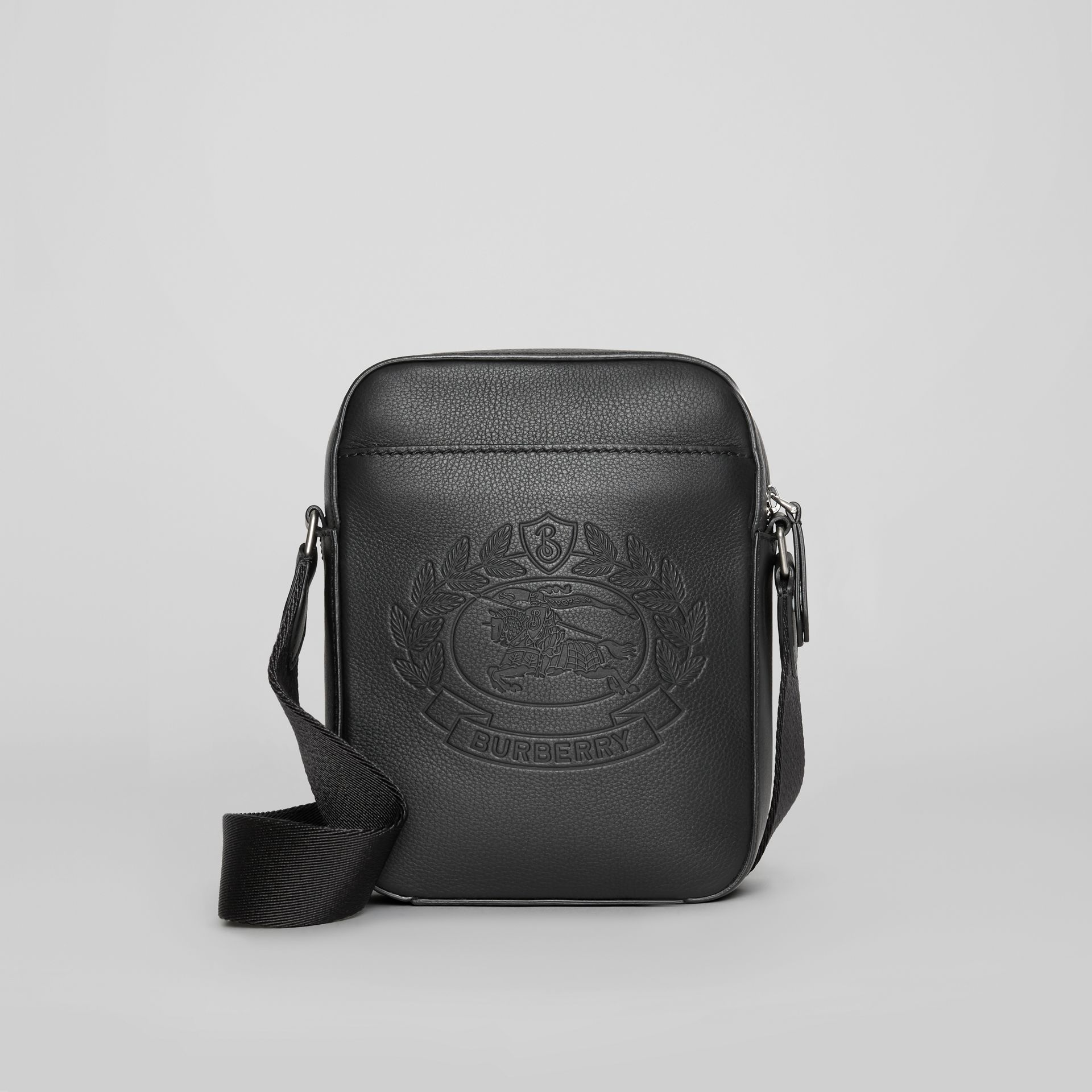 Small Embossed Crest Leather Crossbody Bag in Black - Men | Burberry - gallery image 0