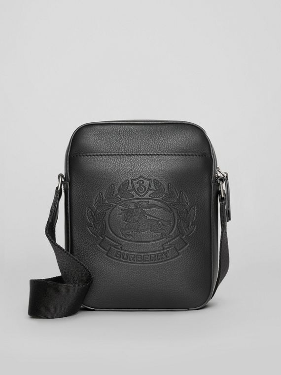 Small Embossed Crest Leather Crossbody Bag in Black