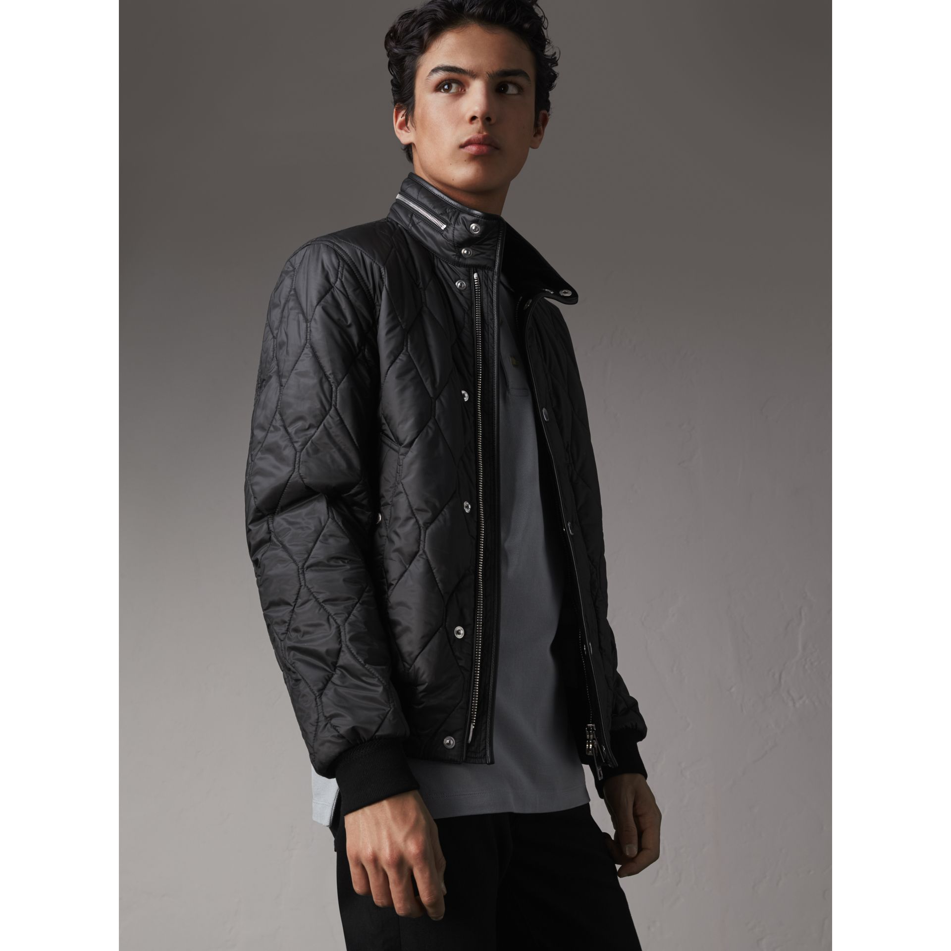 Stand-collar Military-quilted Jacket with Packaway Hood in Black - Men | Burberry Australia - gallery image 5