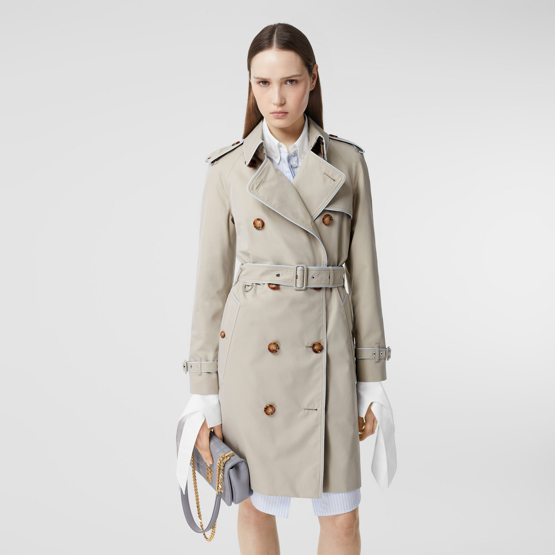 Piped Cotton Gabardine Trench Coat in Stone - Women | Burberry - gallery image 6