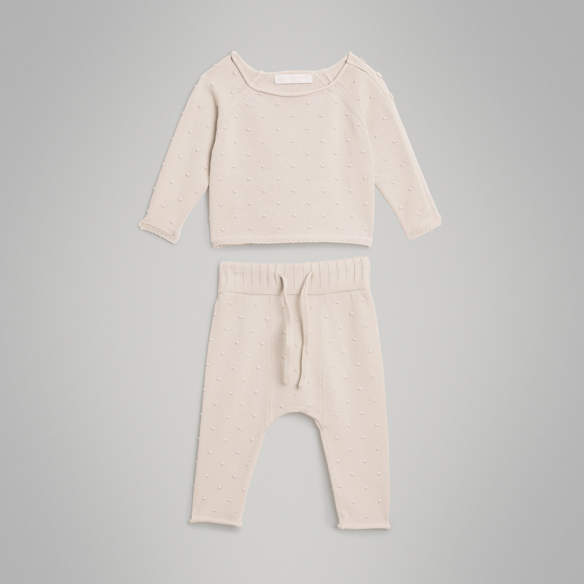 Bobble Knit Cotton Two-piece Baby Gift Set in Stone - Children | Burberry - gallery image 2
