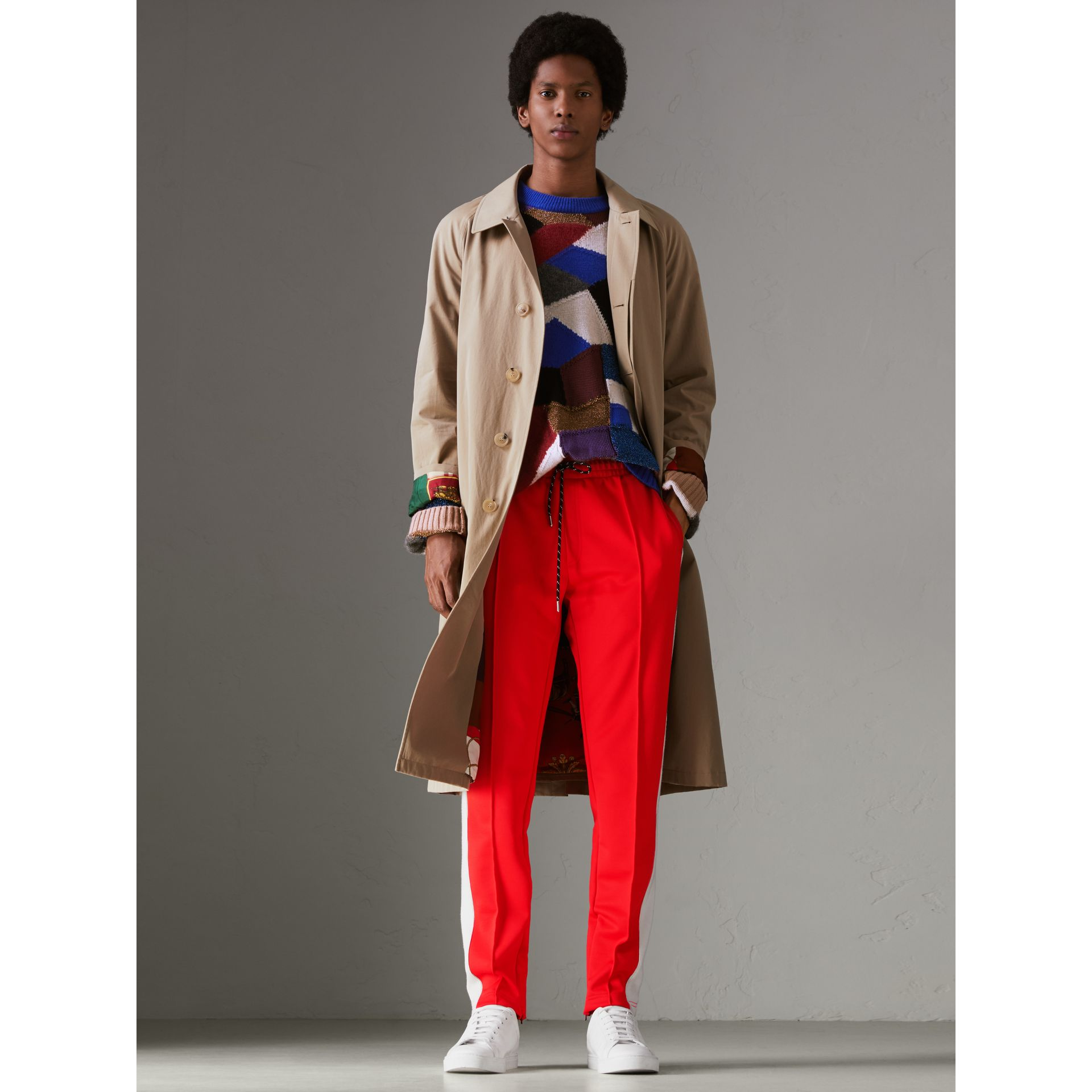 Sport Stripe Cotton Blend Drawcord Trousers in Bright Red - Men | Burberry Canada - gallery image 0