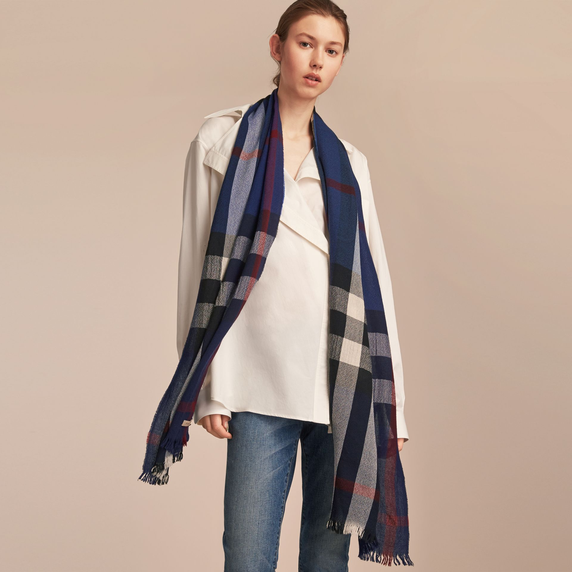 Lightweight Check Wool Cashmere Scarf Navy - gallery image 3