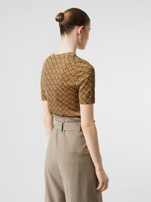 Monogram Print Merino Wool Top in Beige - Women | Burberry Singapore - cell image 2