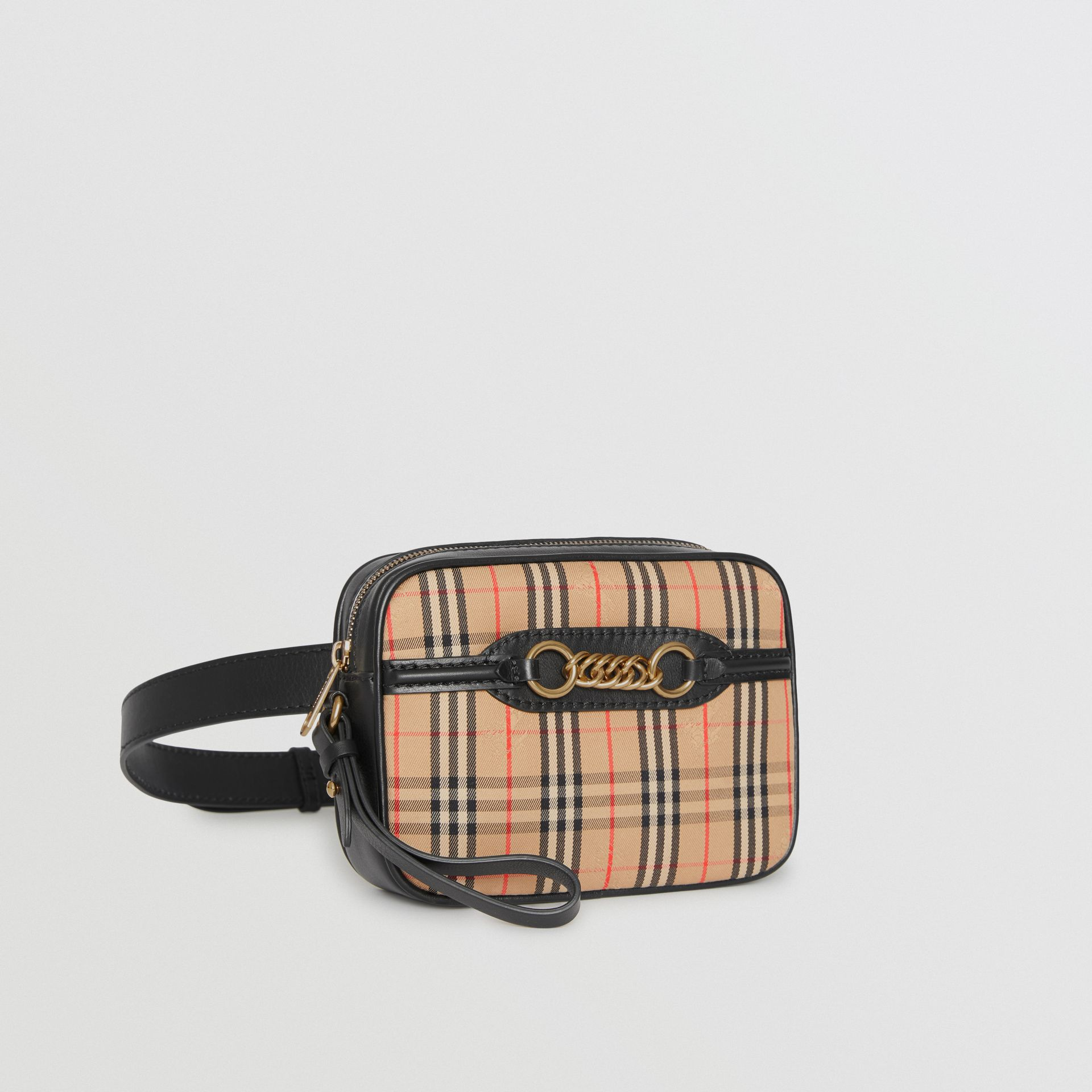 The 1983 Check Link Bum Bag with Leather Trim in Black - Women | Burberry United Kingdom - gallery image 6