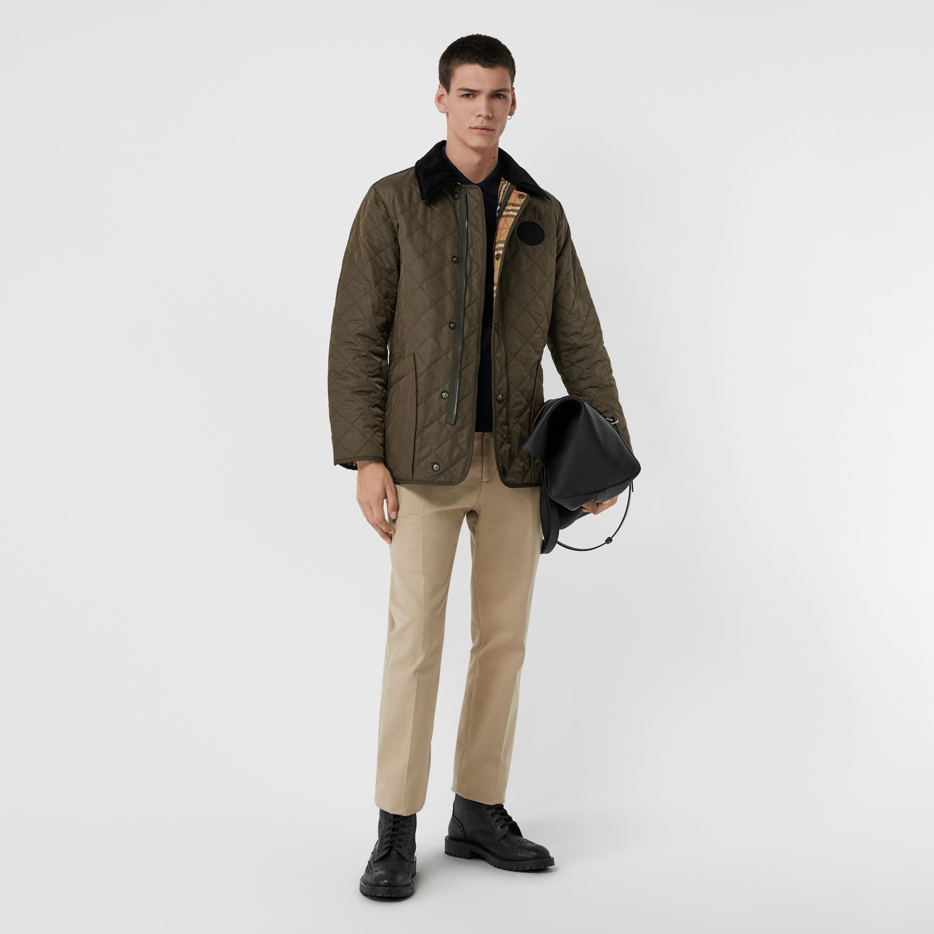 Diamond Quilted Thermoregulated Barn Jacket in Dark Olive - Men | Burberry Canada - gallery image 0