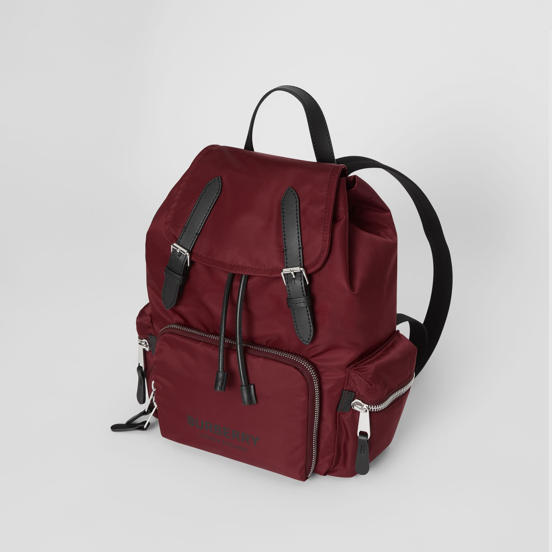 The Medium Rucksack in Logo Print Nylon in Burgundy - Women | Burberry - gallery image 2