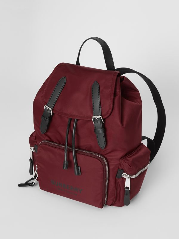 The Medium Rucksack in Logo Print Nylon in Burgundy - Women | Burberry - cell image 3