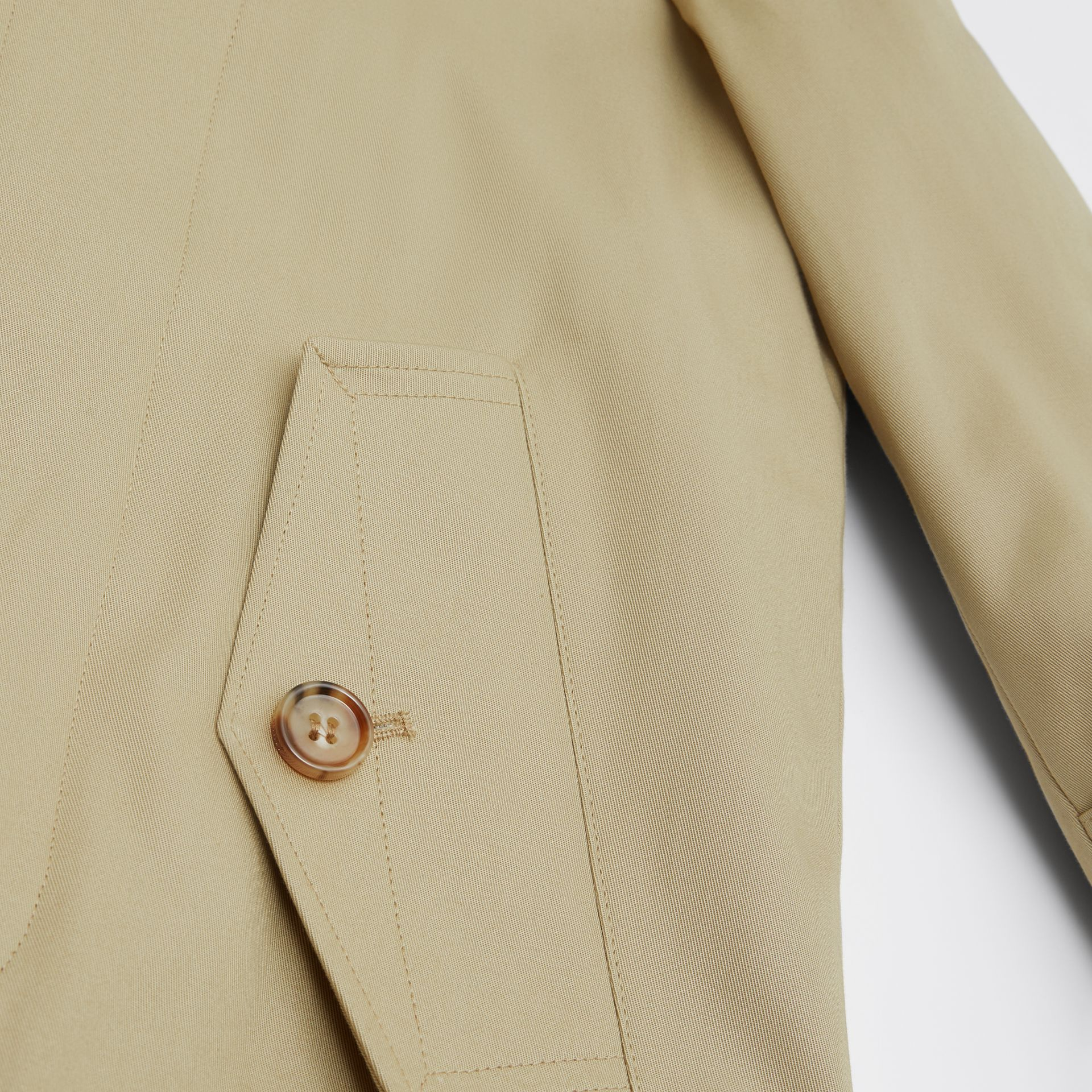 Detachable Hood Icon Stripe Trim Cotton Car Coat in Honey | Burberry - gallery image 1
