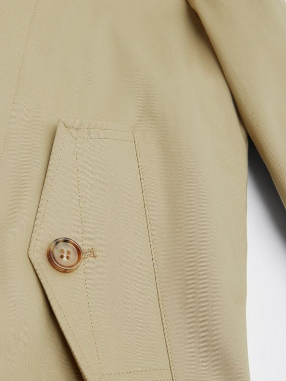 Detachable Hood Icon Stripe Trim Cotton Car Coat in Honey | Burberry - cell image 1
