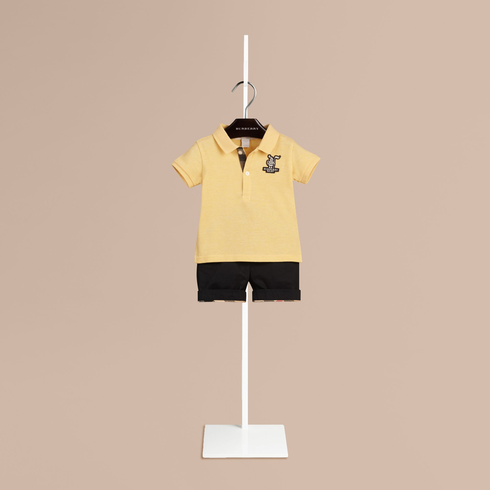 Camomile yellow melange Burberry Baby Knight Polo Shirt - gallery image 1
