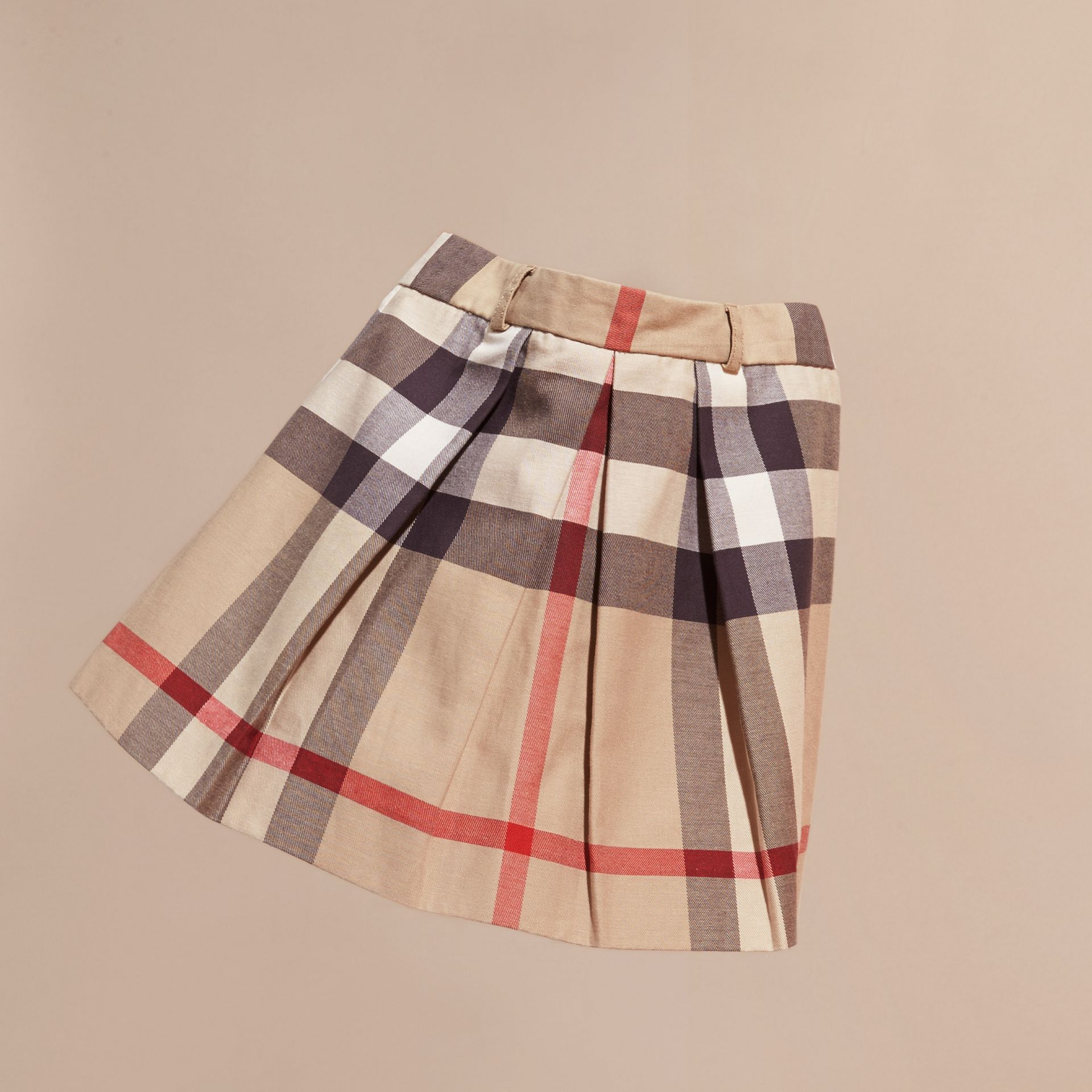 Pleated Check Cotton Skirt New Classic - gallery image 3