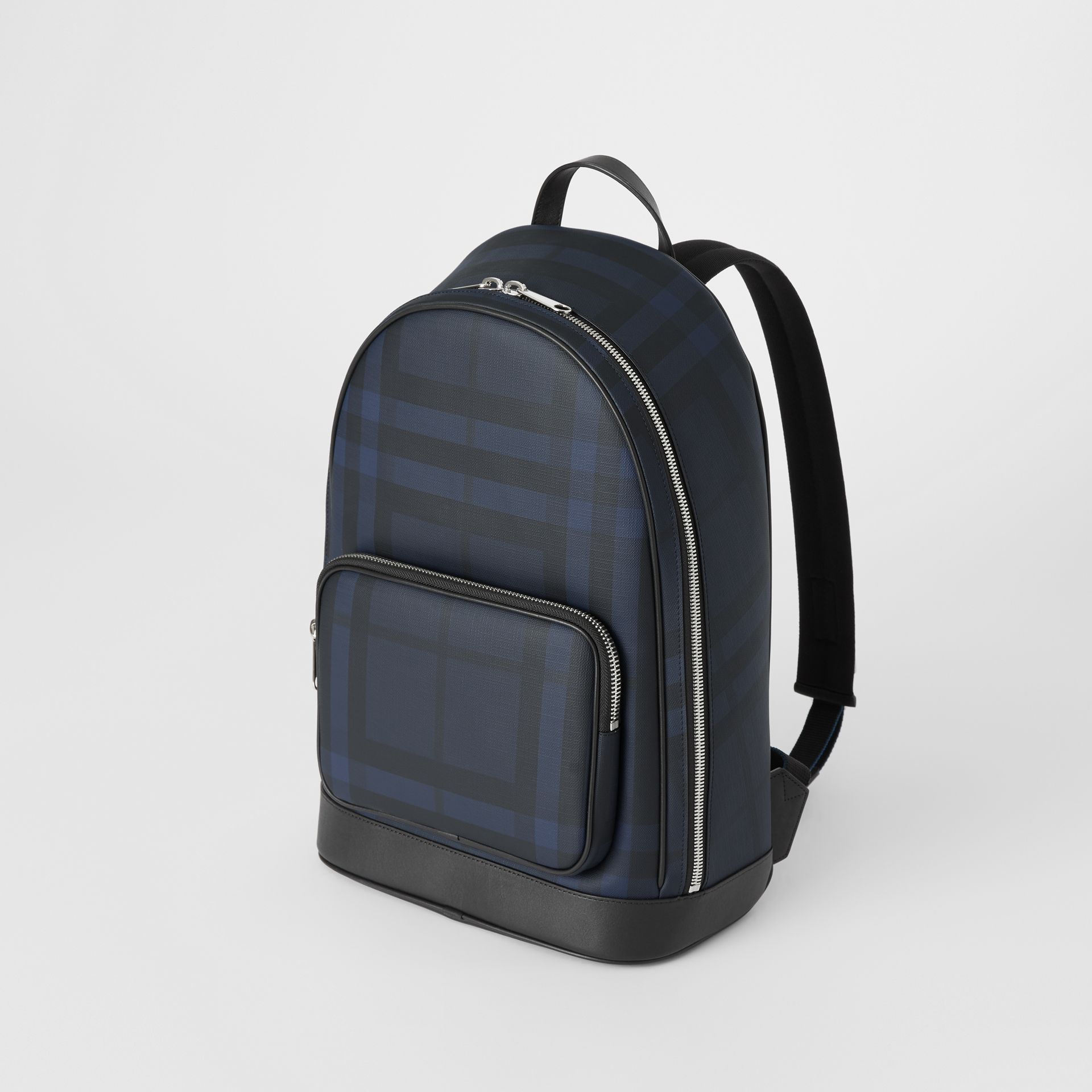London Check and Leather Backpack in Navy/black - Men | Burberry Hong Kong S.A.R - gallery image 4