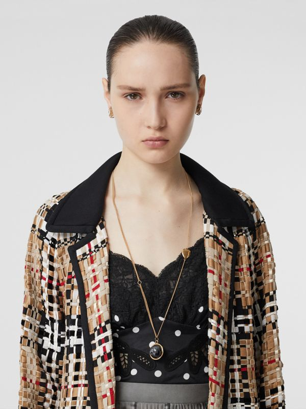 Heart and Marbled Resin Charm Chain Necklace in Light Gold - Women | Burberry - cell image 2