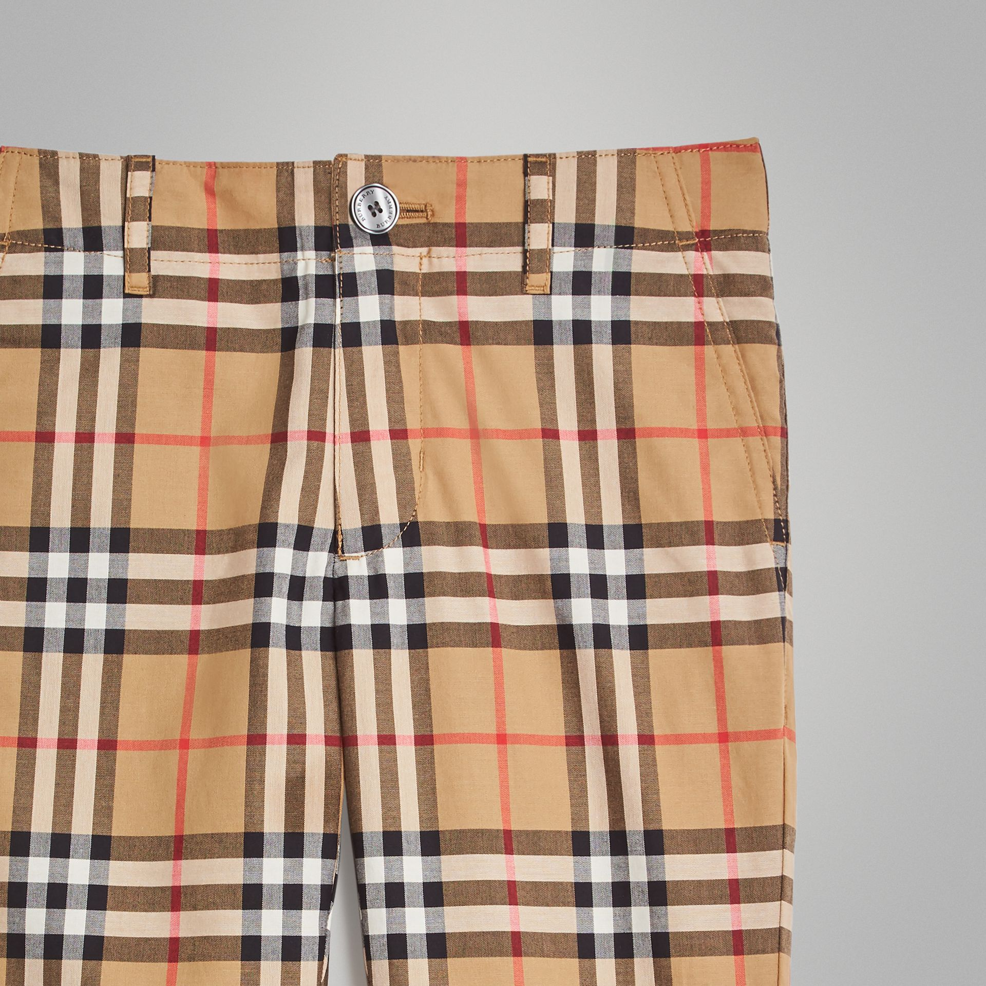 Vintage Check Cotton Tailored Trousers in Antique Yellow | Burberry - gallery image 4